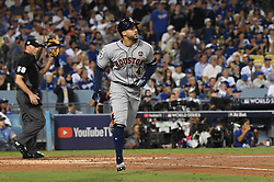 October 31, 2017 - Los Angeles, California, U.S. - Houston Astros' George Springer (4) watches his solo home run off of Los Angeles Dodgers' Rich Hill (not pictured) in the 3rd inning of game six of a World Series baseball game at Dodger Stadium on Tuesday, Oct. 31, 2017 in Los Angeles. (Photo by Keith Birmingham, Pasadena Star-News/SCNG) (Credit Image: © San Gabriel Valley Tribune via ZUMA Wire)