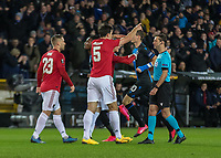 Football - 2019 / 2020 UEFA Europa League - Round of Thirty-Two, First Leg: Club Bruges vs. Manchester United<br /> <br /> Harry Maguire (Manchester United) protests after Club Bruge score the opening goal at Jan Breydel Stadium.<br /> <br /> COLORSPORT/DANIEL BEARHAM