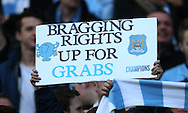 Manchester City's fans hold up a banner - Barclays Premier League - Manchester City vs Manchester Utd - Etihad Stadium - Manchester - England - 2nd November 2014  - Picture David Klein/Sportimage