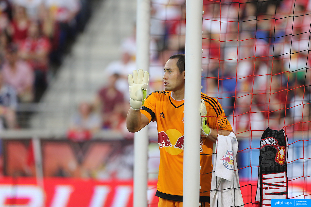 Goalkeeper Luis Robles, New York Red Bulls, organises the defensive wall during the New York Red Bulls Vs NYCFC, MLS regular season match at Red Bull Arena, Harrison, New Jersey. USA. 10th May 2015. Photo Tim Clayton