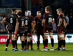 Dragons players regroup <br /> <br /> Photographer Simon King/Replay Images<br /> <br /> Guinness PRO14 Round 1 - Dragons v Benetton Treviso - Saturday 1st September 2018 - Rodney Parade - Newport<br /> <br /> World Copyright © Replay Images . All rights reserved. info@replayimages.co.uk - http://replayimages.co.uk