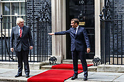British Prime Minister Boris Johnson, left, meets with French President Emmanuel Macron at 10 Downing Street in London, Thursday, June 18, 2020. The President of the French Republic visits London to celebrate the 80th anniversary of General de Gaulle's 'Appel' to the French population to resist the German occupation of France during WWII. (Photo/ Vudi Xhymshiti)