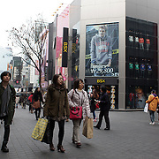 Myeongdong, Seoul's main shopping and tourism district, Seoul, South Korea. 22nd March 2012. Photo Tim Clayton