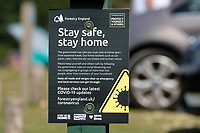 forestry commission covid 19 stay home stay safe signs Bolderwood in the New Forest   photo by Dawn Fletcher-Park