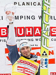KRANJEC Robert (SLO), overall Skiflying Champion celebrates at trophy ceremony after the Flying Hill Individual competition at 4th day of FIS Ski Jumping World Cup Finals Planica 2012, on March 18, 2012, Planica, Slovenia. (Photo by Vid Ponikvar / Sportida.com)