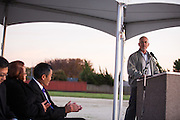 SJECCD former Trustee Ron Lind presents during the Milpitas Unified School District and San Jose Evergreen Community College District Community College Extension Ground Breaking Ceremony near Russell Middle School in Milpitas, California, on November 17, 2015. (Stan Olszewski/SOSKIphoto)