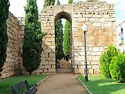 Walls of Alcazaba castle building, Merida, Extremadura, Spain