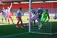 GOAL for Luke Norris of Stevenage FC during the EFL Sky Bet League 2 match between Stevenage and Bradford City at the Lamex Stadium, Stevenage, England on 5 April 2021.