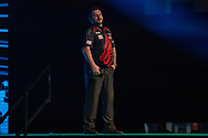 Jonny Clayton (Wales), walk-on, during the Betway Premier League Darts Night Eight at Marshall Arena, Milton Keynes, United Kingdom on 21 April 2021