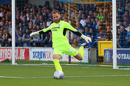 Scunthorpe United goalkeeper Jak Alnwick (25) clearing the ball during the EFL Sky Bet League 1 match between AFC Wimbledon and Scunthorpe United at the Cherry Red Records Stadium, Kingston, England on 15 September 2018.