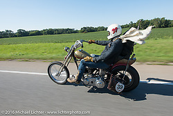 Sean Duggan riding his 1936 Harley-Davidson Knucklehead during Stage 4 of the Motorcycle Cannonball Cross-Country Endurance Run, which on this day ran from Chatanooga to Clarksville, TN., USA. Monday, September 8, 2014.  Photography ©2014 Michael Lichter.