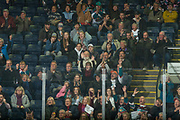 KELOWNA, CANADA - NOVEMBER 21: Fans celebrate a first period goal against the Regina Pats on November 21, 2018 at Prospera Place in Kelowna, British Columbia, Canada.  (Photo by Marissa Baecker/Shoot the Breeze)