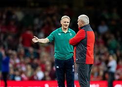 Joe Schmidt with Head Coach Warren Gatland of Wales during the pre match warm up<br /> <br /> Photographer Simon King/Replay Images<br /> <br /> Friendly - Wales v Ireland - Saturday 31st August 2019 - Principality Stadium - Cardiff<br /> <br /> World Copyright © Replay Images . All rights reserved. info@replayimages.co.uk - http://replayimages.co.uk