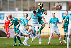 Dzsenifer Marozsan of Germany and Manja Rogan of Slovenia during football match between Slovenia and Germany in Womans Qualifications for World Championship 2019, on April 10, 2018 in Sports park Domzale, Domzale, Slovenia. Photo by Ziga Zupan / Sportida