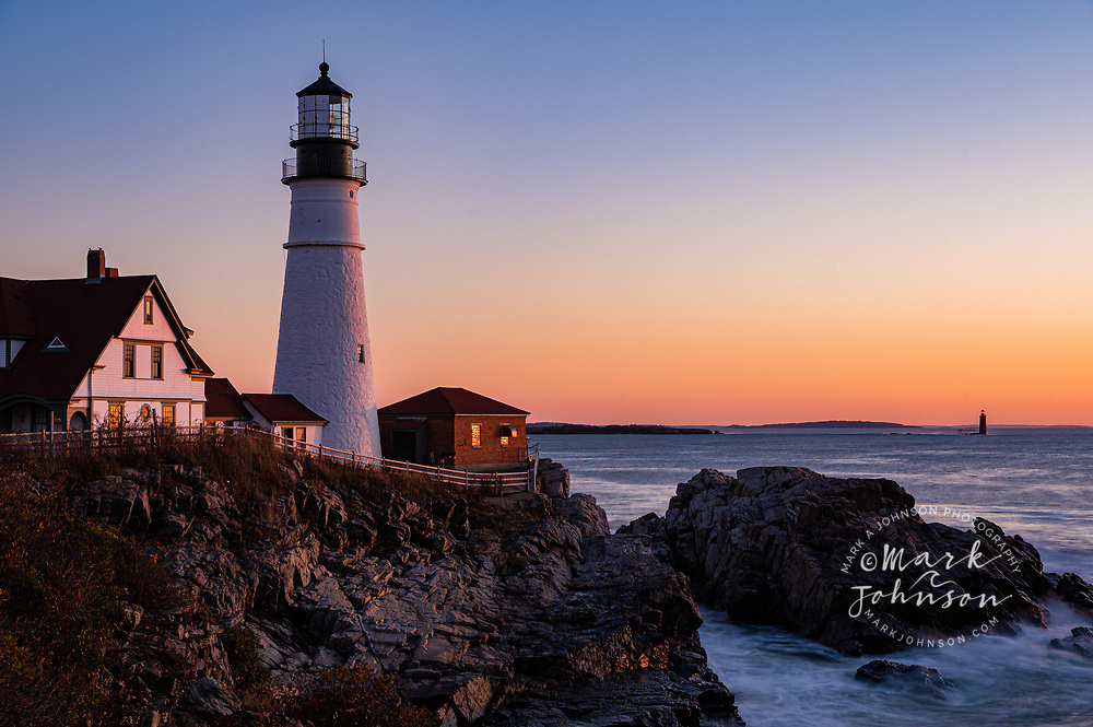 Dawn at Portland Head Light, Maine, New England, USA
