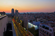 Elevated view of Gran Via, Madrid, Spain at sunset