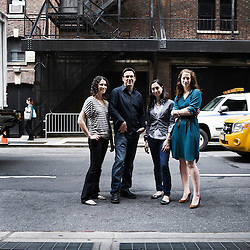 NEW YORK, NY - JUNE 14, 2010: New York Time's journalists (Meaghan Looram, Todd Heisler, Sarah Kramer, Alexis Mainland) behind the 1 in 8 millions project that ran on the web in 2009. Shot at the New York Time Building in New York, NY, USA. 14 June 2010. (Photo by Antoine Doyen)