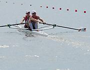 Poznan, POLAND, 21.06.19,  Friday,  CAN2 M2-, <br /> David DE GROOT andTim SCHRIJVER, at the start, orld Rowing Cup II, Malta Lake Course, © Peter SPURRIER/Inter, sport Images, <br /> <br /> 10:18:24