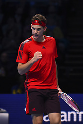 November 15, 2017 - London, England, United Kingdom - Austria's Dominic Thiem reacts after winning a point against Spain's Pablo Carreno Busta during their men's singles round-robin match on day four of the ATP World Tour Finals tennis tournament at the O2 Arena in London on November 15 2017. (Credit Image: © Alberto Pezzali/NurPhoto via ZUMA Press)