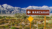 Sign at Manzanar National Historic Site, Lone Pine, California USA