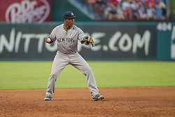 May 23, 2018 - Arlington, TX, U.S. - ARLINGTON, TX - MAY 23: New York Yankees third baseman Miguel Andujar (41) throws to first base during the game between the New York Yankees and the Texas Rangers on May 23, 2018 at Globe Life Park in Arlington, TX. (Photo by George Walker/Icon Sportswire) (Credit Image: © George Walker/Icon SMI via ZUMA Press)