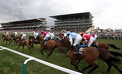 Native River ridden by Richard Johnson (far left) and Might Bite ridden by Nico de Boinville (second left) lead the field in the Timico Cheltenham Gold Cup Chase during Gold Cup Day of the 2018 Cheltenham Festival at Cheltenham Racecourse.