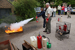 Fire safety training for a group of company employees,