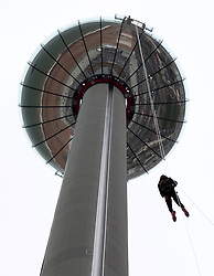 Chris Eubank Jnr. abseiling from the British Airways i360 in Brighton during the iDrop charity abseil to raise money for Rockinghorse, the fundraising arm of the Royal Alexandra ChildrenÕs Hospital.