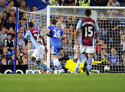 "Aston Villa's Christian Benteke scores  - Photo mandatory by-line: Joe Meredith/JMP - Tel: Mobile: 07966 386802 21/08/2013 - SPORT - FOOTBALL - Stamford Bridge - London - Chelsea V Aston Villa - Barclays Premier League - EDITORIAL USE ONLY. No use with unauthorised audio, video, data, fixture lists, club/league logos or ""live"" services. Online in-match use limited to 45 images, no video emulation. No use in betting, games or single club/league/player publications"