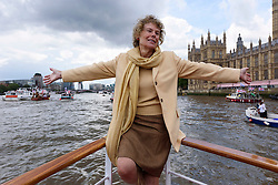 © Licensed to London News Pictures. 15/06/2016. KATE HOEY MP leads a pro-Brexit flotilla of boats down the River Thames urging voting in the British EU Referendum.  London, UK. Photo credit: Ray Tang/LNP