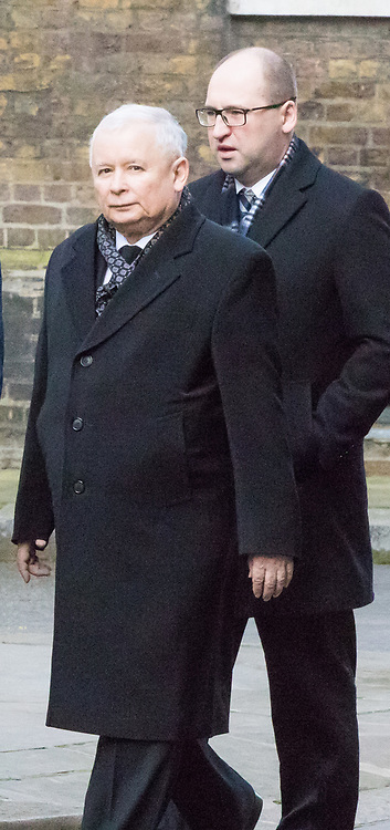 Downing Street, London, March 23rd 2017. Polish conservative Law and Justice Party leader and Eurosceptic Jaroslaw Kaczynski (L) arrives at 10 Downing Street for talks with British Prime Minister Theresa May.