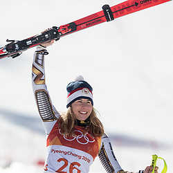 February 17, 2018 - Pyeongchang, South Korea - February 17, 2018 - PyeongChang, South Korea - Gold medal winner ESTER LEDECKA of Czech Republic, during the venue podium ceremony for Alpine Skiing: Ladies' Super-G at Jeongseon Alpine Centre during the 2018 Pyeongchang Winter Olympic Games. (Credit Image: © Daniel A. Anderson via ZUMA Wire)