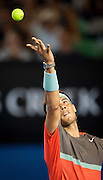 Rafael Nadal (ESP), the number one men's player in the world, met Australian teenager - 17 year old T. Kokkinakis in day 4 play of the 2014 Australian Open. Nadal went on to win the match 6-2, 6-4, 6-2.