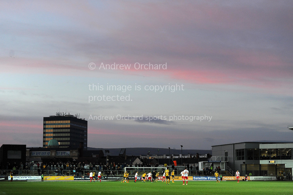 a general view of Rodney Parade during the Skybet football league two match, Newport county v Stevenage at Rodney Parade in Newport, South Wales on Saturday 13th December 2014<br /> pic by Andrew Orchard, Andrew Orchard sports photography.