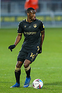 Portrait of Oldham Athletic midfielder Brice Ntambwe (16)  during the EFL Sky Bet League 2 match between Salford City and Oldham Athletic at the Peninsula Stadium, Salford, United Kingdom on 31 October 2020.