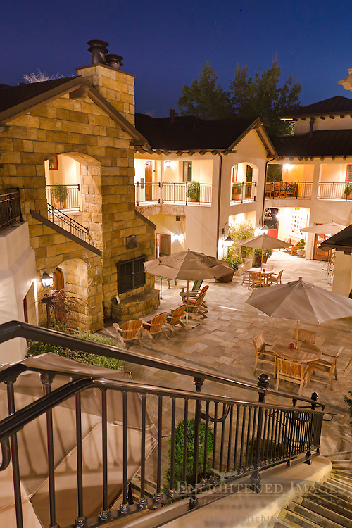 Courtyard of the the Hotel Cheval at night, Paso Robles, San Luis Obispo County, California