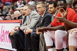 21 November 2015: Coaches Jeremy Ballard, Dan Muller, Luke Yaklich and Dean Oliver. Illinois State Redbirds host the Houston Baptist Huskies at Redbird Arena in Normal Illinois (Photo by Alan Look)