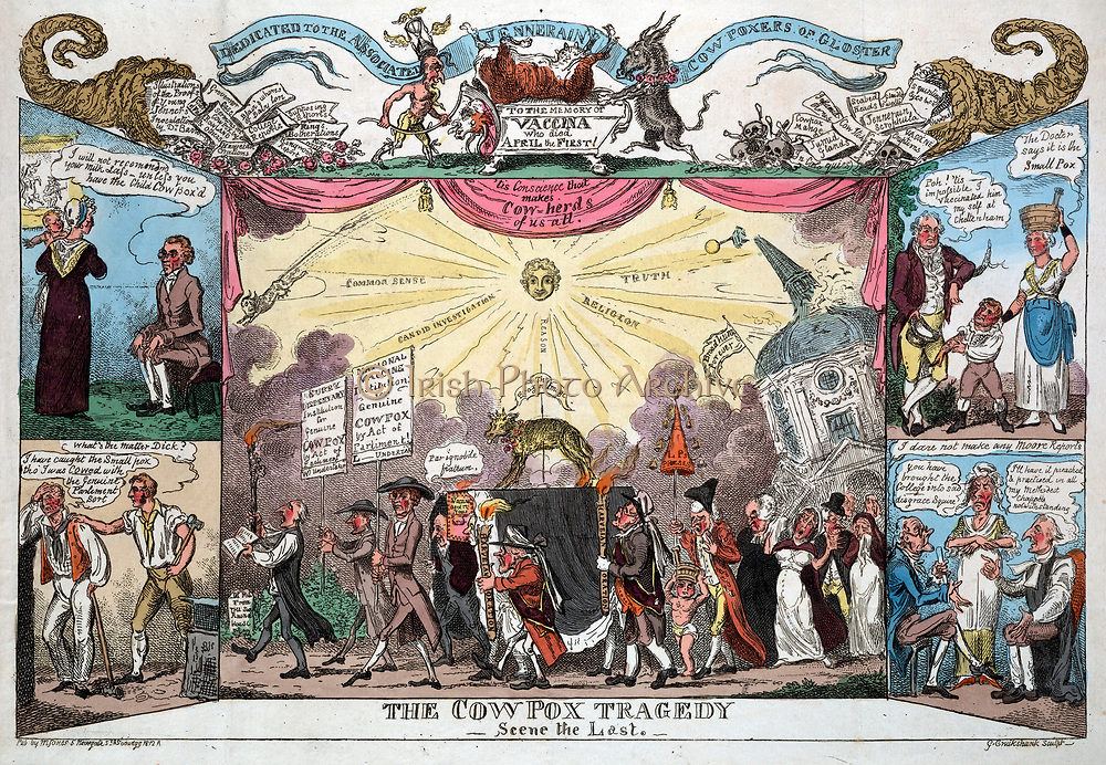The Cow Pox Tragedy -Scene the Last', 1812, by George Cruikshank. In 1806 College of Physicians recommended mass vaccination.  In 1811 some of those vaccinated contracted Smallpox, giving reason to oppose the procedure. Medicine