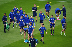 Scotland players warming up prior to kick-off during the UEFA Euro 2020 Group D match at Hampden Park, Glasgow. Picture date: Monday June 14, 2021.
