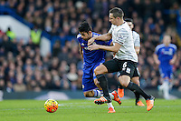 Chelsea's Diego Costa holds off the challenge from Everton's Phil Jagielka<br /> <br /> Photographer Craig Mercer/CameraSport<br /> <br /> Football - Barclays Premiership - Chelsea v Everton - Saturday 16th January 2016 - Stamford Bridge - London<br /> <br /> © CameraSport - 43 Linden Ave. Countesthorpe. Leicester. England. LE8 5PG - Tel: +44 (0) 116 277 4147 - admin@camerasport.com - www.camerasport.com