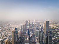 Aerial view of the traffic lanes and Skyscrapers in Dubai, U.A.E.