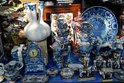 Amsterdam - Netherlands. A store on the Prinsengracht selling all kinds of items mainley for tourits (Delft pottery ceramic products / delfts blaauw)