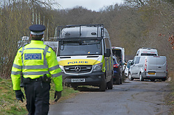 © Licensed to London News Pictures 12/03/2021. Ashford, UK. Police vehicles on the site.Teams of Metropolitan police officers continue to search Great Chart Leisure in Ashford, Kent today in connection with the ongoing investigation into the disappearance of Sarah Everard from London. Photo credit:Grant Falvey/LNP