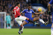 Anthony Martial of Manchester United chips the ball over Mikel John Obi of Chelsea. Barclays Premier league match, Chelsea v Manchester Utd at Stamford Bridge in London on Sunday 7th February 2016.<br /> pic by John Patrick Fletcher, Andrew Orchard sports photography.