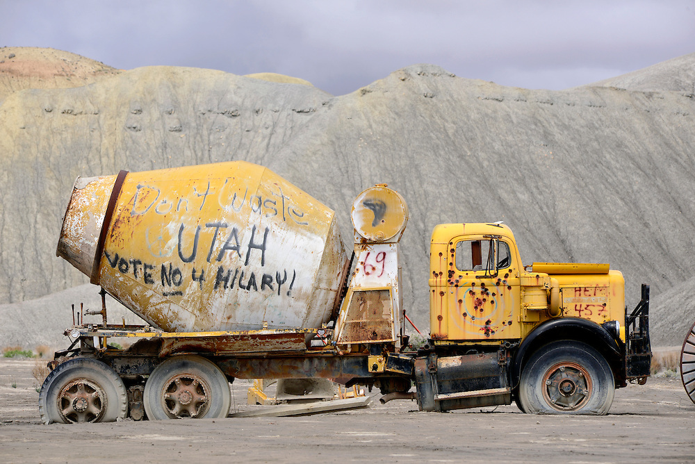 Old cement truck with grafitti, Caineville, Utah.