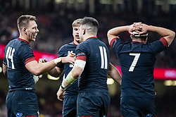 Liam Williams of Wales celebrates scoring his sides ninth try<br /> <br /> Photographer Simon King/Replay Images<br /> <br /> Under Armour Series - Wales v Tonga - Saturday 17th November 2018 - Principality Stadium - Cardiff<br /> <br /> World Copyright © Replay Images . All rights reserved. info@replayimages.co.uk - http://replayimages.co.uk