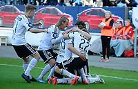 Fotball Tippeligaen Rosenborg - Lillestrøm<br /> 9 mai 2015<br /> Lerkendal Stadion, Trondheim<br /> <br /> <br /> Aleksander Søderlund har scoret 1-0 for Rosenborg og blir gratulert av fra venstre: Fredrik Midtsjø,Tobias Mikkelsen, Jonas Svensson (22) og Ole Selnæs (bak)<br /> <br /> <br /> <br /> Foto : Arve Johnsen, Digitalsport