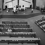 Pastor Brian leads a service at an empty Shepard Of The Valley church due to the Coronavirus pandemic. The service was recorded for distribution on Facebook so people could worship at home under the Stay At Home orders.