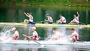 Bled, SLOVENIA,  Men's Four Final.  GBR M4-, bow Alex PARTRIDGE, Rick EGINGTON, Alex GREGORY and Matt LANGRIDGE winning the final.1st FISA World Cup. Third day. Rowing Course. Lake Bled.  Sunday  30/05/2010  [Mandatory Credit Peter Spurrier/ Intersport Images]