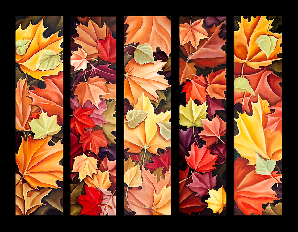 The best of Autumn's colors: golds, rust, scarlet, butter yellow...one of the reasons this is many people's favorite season! <br /> Oil on birch panel; 5 panel set, each panel 6 x 20